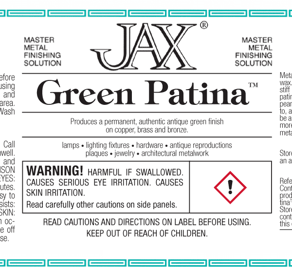 Jax Green Patina package label