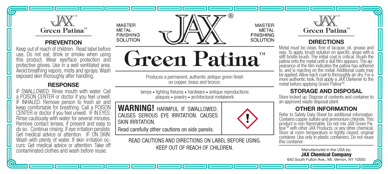 Jax Green Patina package label