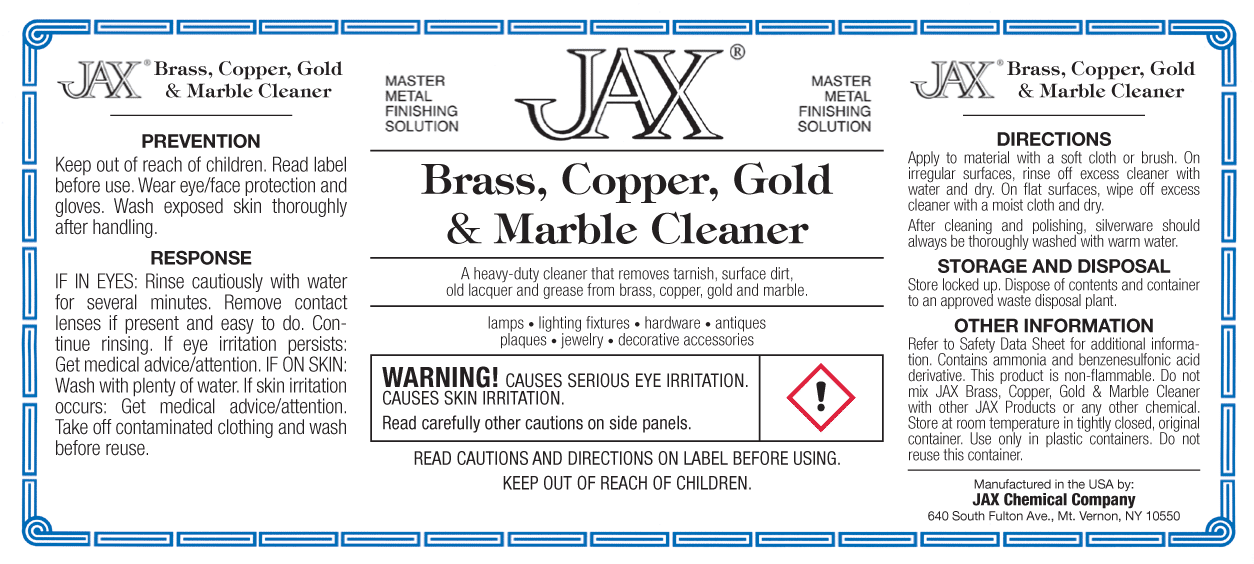 JAX Brass, Copper, Gold and Marble Cleaner label