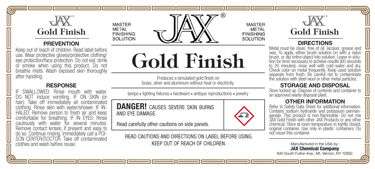 JAX Gold Finish label