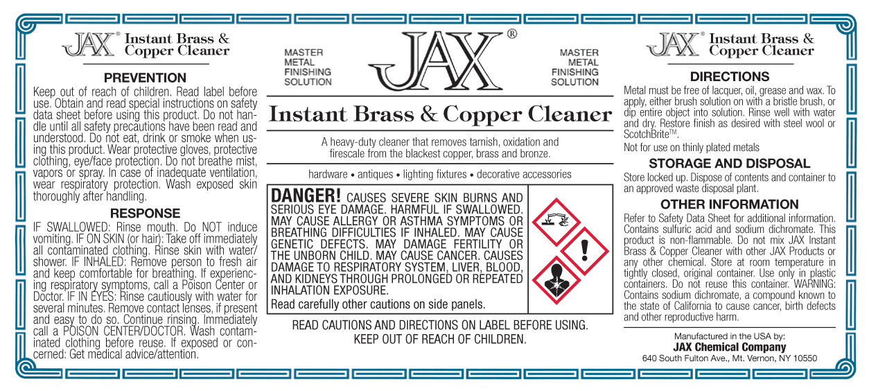 Instant Brass and Copper Cleaner label