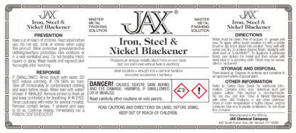 Iron, Steel and Nickel Blackener label