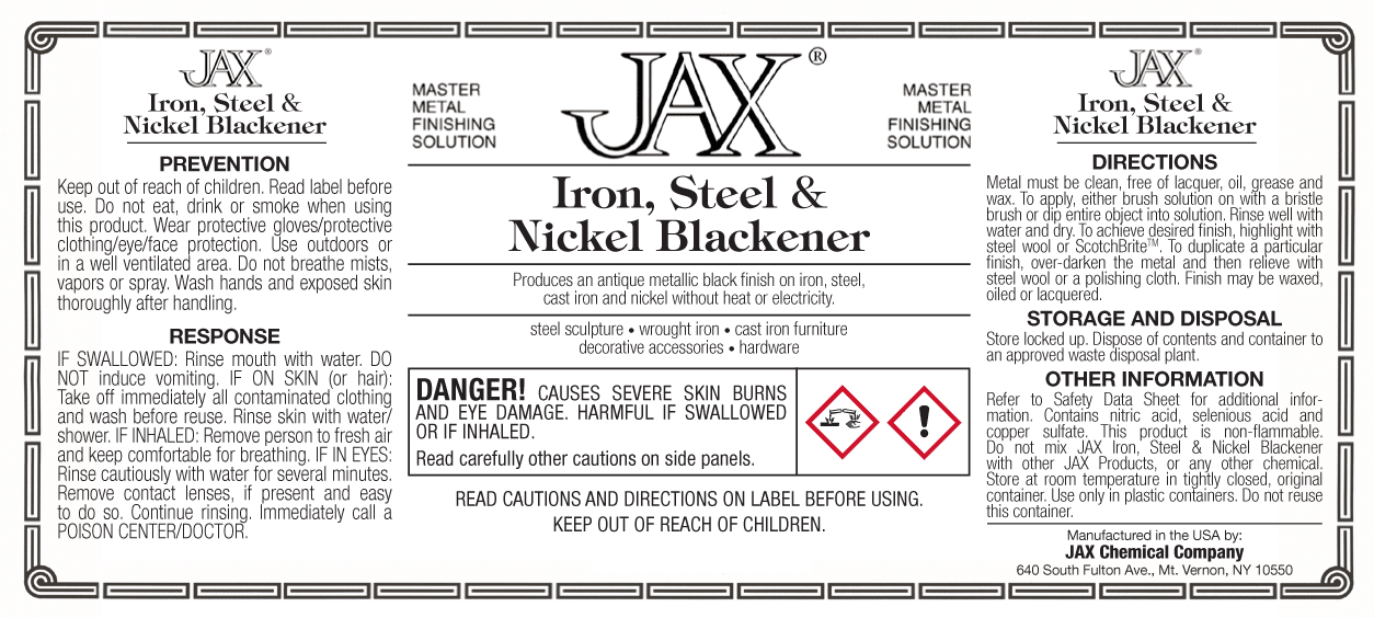 Iron, Steel and Nickel Blackener label
