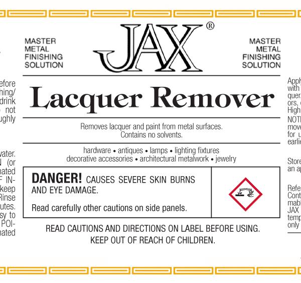 JAX Lacquer Remover label