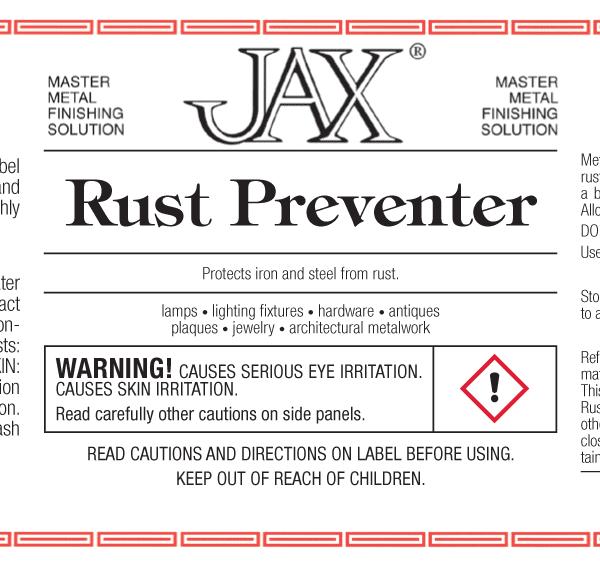 JAX Rust Preventer label