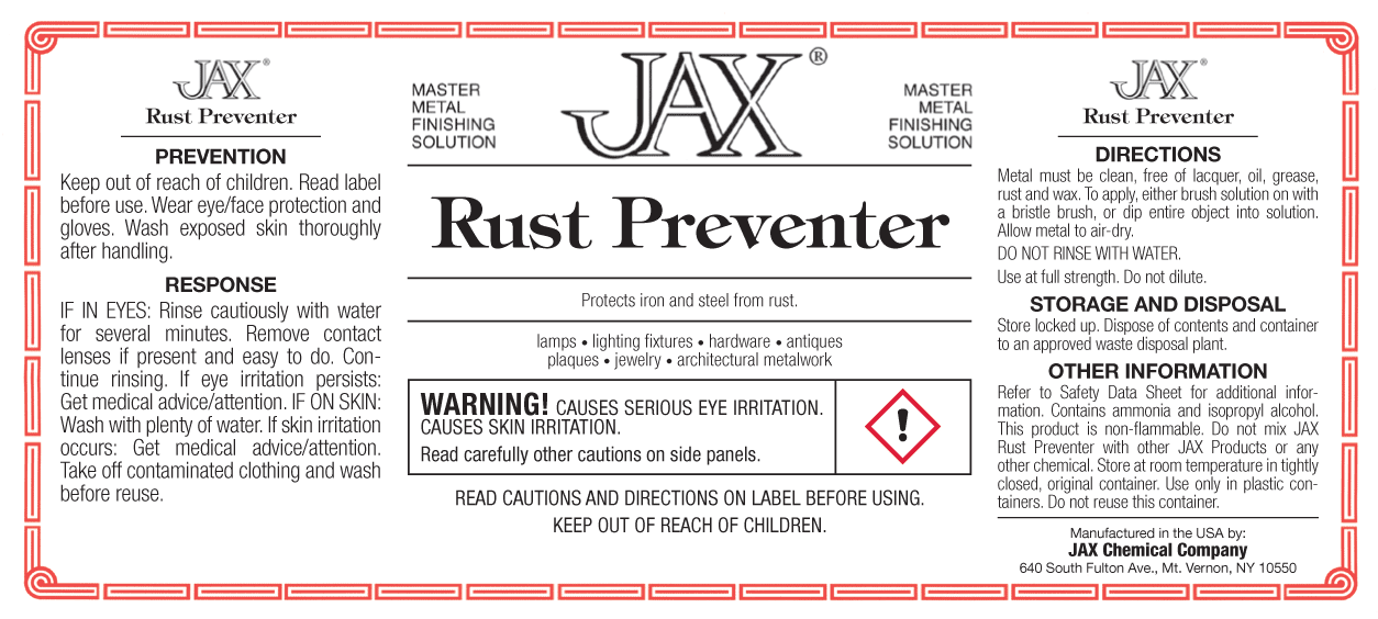 JAX Rust Preventer label