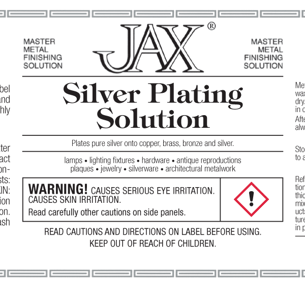 JAX Silver Plating Solution label