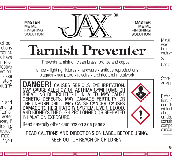 JAX Tarnish Preventer label