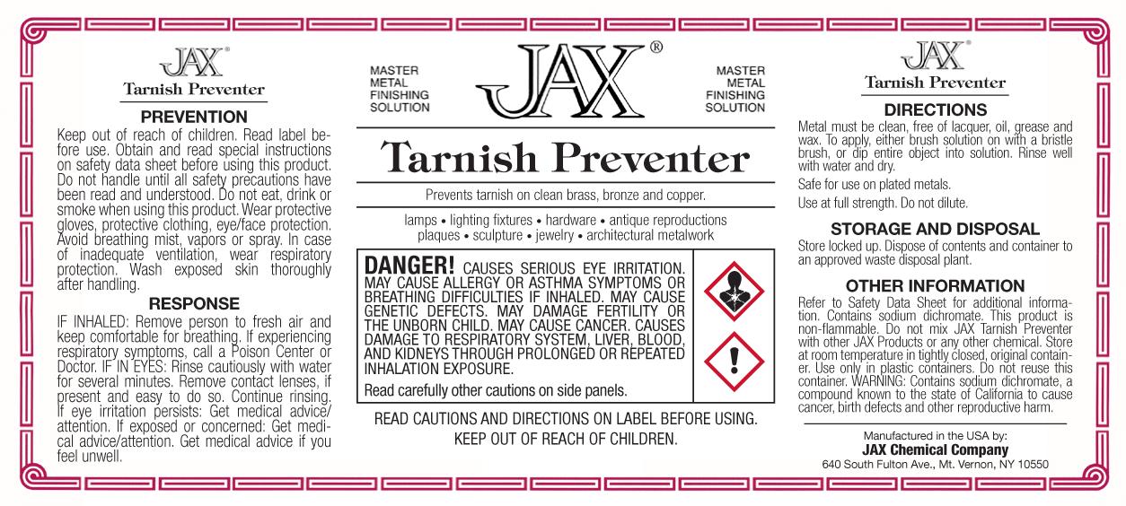 JAX Tarnish Preventer label