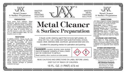 JAX Metal Cleaner & Surface Preparation label