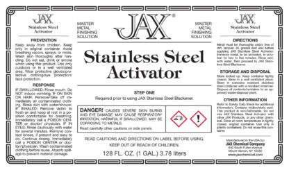 JAX Stainless Steel Activator label
