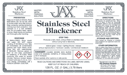 JAX Stainless Steel Blackener label